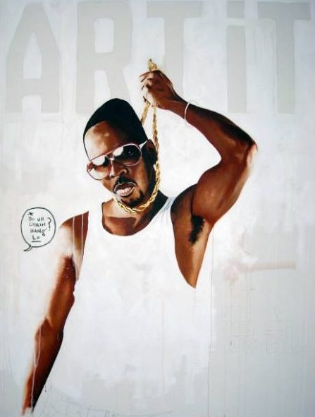 Fahamu Pecou, Chain Hang Lo, 2008, acrylic, gold leaf, and oil stick on canvas, 72 x 54 inches