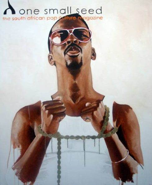 Fahamu Pecou, Don't Feed The Mouth That Bites You, 2007, acrylic and oil stick on canvas, 54 x 42 inches