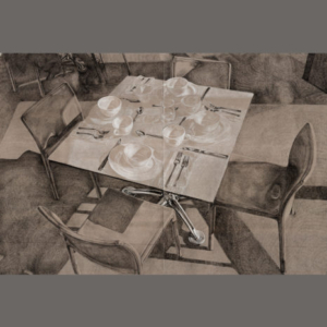 Paola Cabal, Proposal Drawing for The Everland Café, 2014, graphite and white colored pencil on grey toned paper, 24 x 36 inches