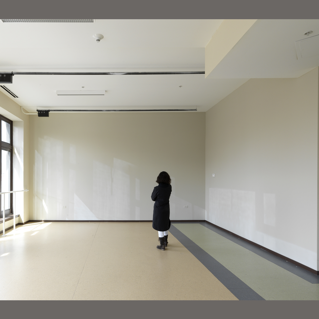 Paola Cabal, Analemma, 2013, interior latex and spray paint on wall, wall height 11 feet 3 inches, wall facing viewer 19 feet 8 inches across