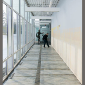 Paola Cabal, Winter Azimuth, 2014, interior latex and spray paint on mdf (installed over floor) and wall, corridor 61.5 x 8 feet; wall height 11 feet 11 inches