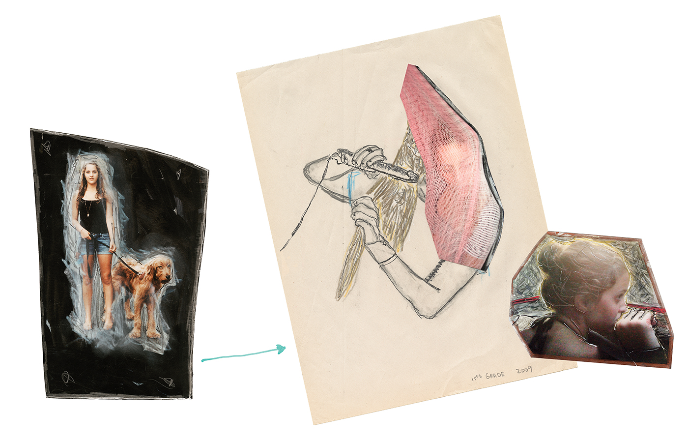 Jim Goldberg, Ruby, 11th Grade from Ruby Every Fall, 2009/2015, mixed media collage, dimensions variable
