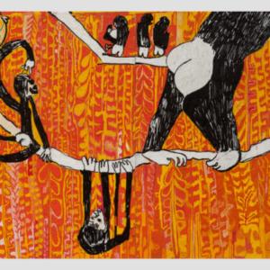 Summer Wheat, Monkeys in Trees, 2016, acrylic on aluminum mesh, 72 x 96 inches