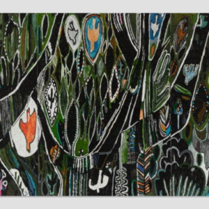 Summer Wheat, Birds in Trees, 2016, acrylic on aluminum mesh, 144 x 72 inches
