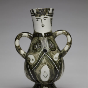 Guy Overfelt, Bong Deux Anses Haute King (After Picasso), 2015, Glazed and engraved porcelain, 15 x 7 x 10.5 inches