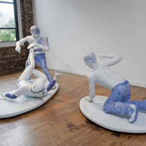 Ben Stone, Blue Meanies, 2010, ballpoint pen on coated polystyrene and wood large, base: 58 x 87 x 45 inches, small base: 40 x 60 x 39 inches