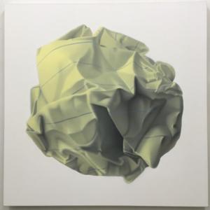 Rachel Hecker, Yellow paper ball, 2016, acrylic on canvas, 48 x 48 inches