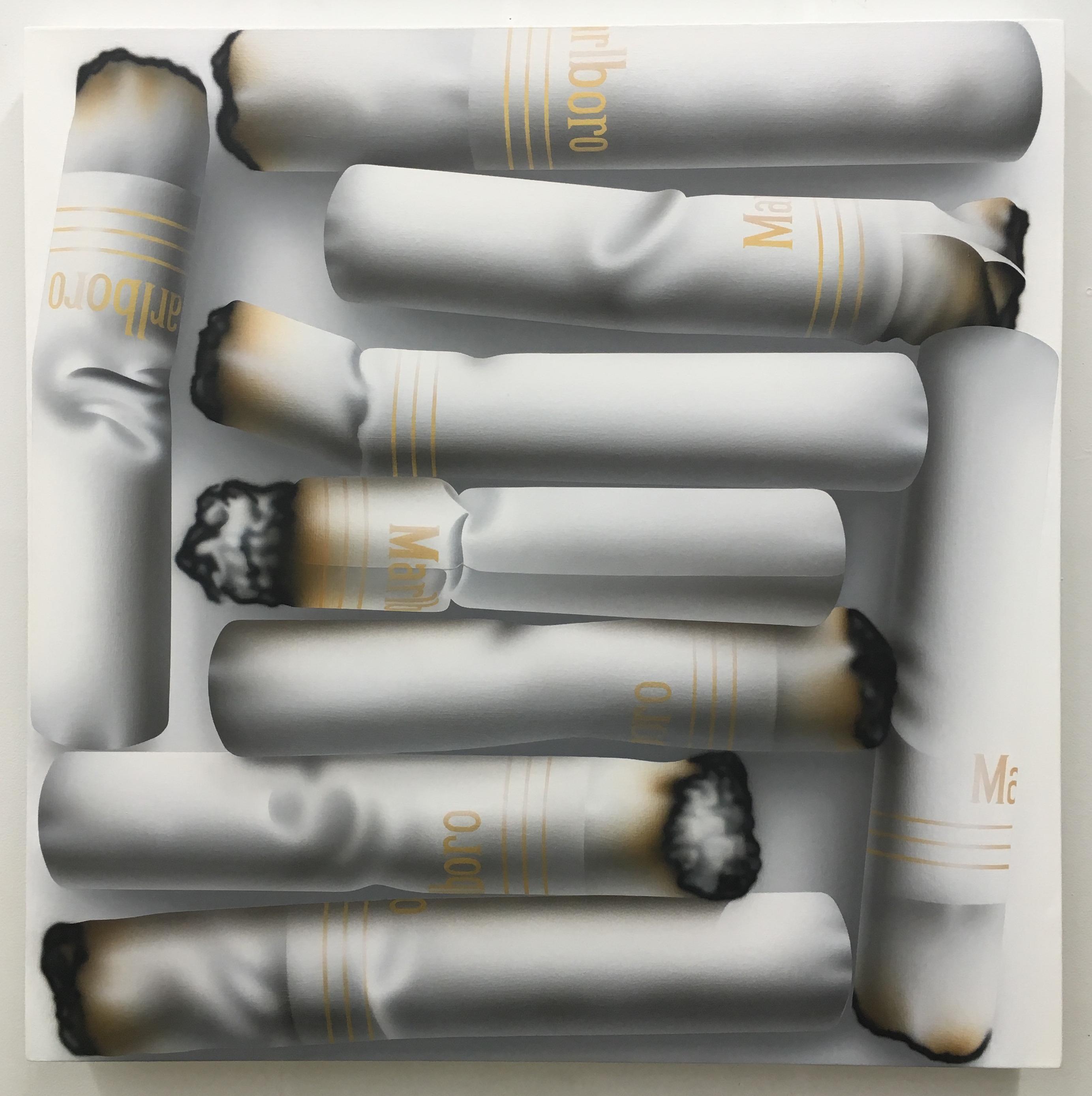 Rachel Hecker, Cigarette arrangement #2, 2016, acrylic on canvas, 30 x 30 inches