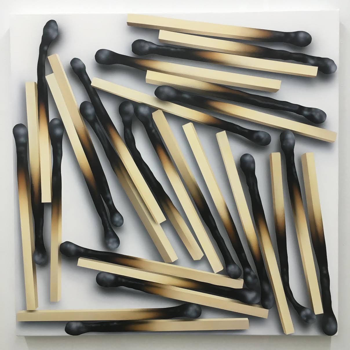 Rachel Hecker, Match arrangement #2, 2016, acrylic on canvas, 36 x3 6 inches