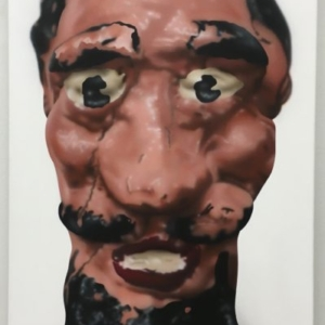 Rachel Hecker, Head from Bill's Junk, 2016, acrylic on canvas, 36 x 20 inches