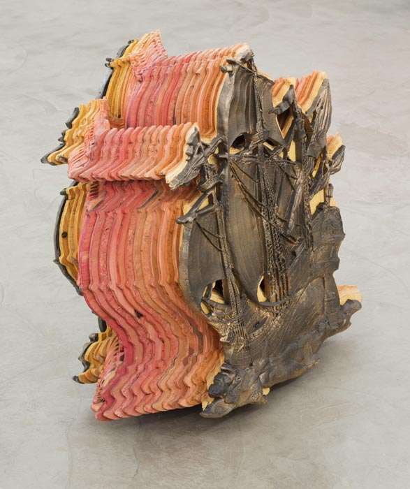 Ben Stone, Trip Ship, 2013, painted resin and plywood, 30 h x 30 w x 15 d inches