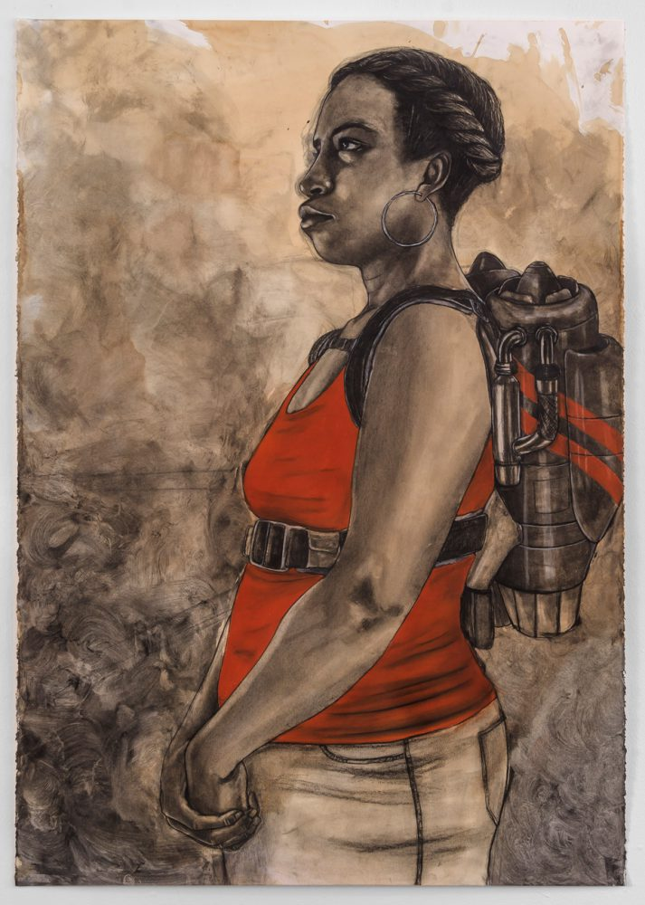 Robert Pruitt, Altitude Determines you Attitude, 2015, coffee charcoal and mixed media on paper, 44 x 31 inches
