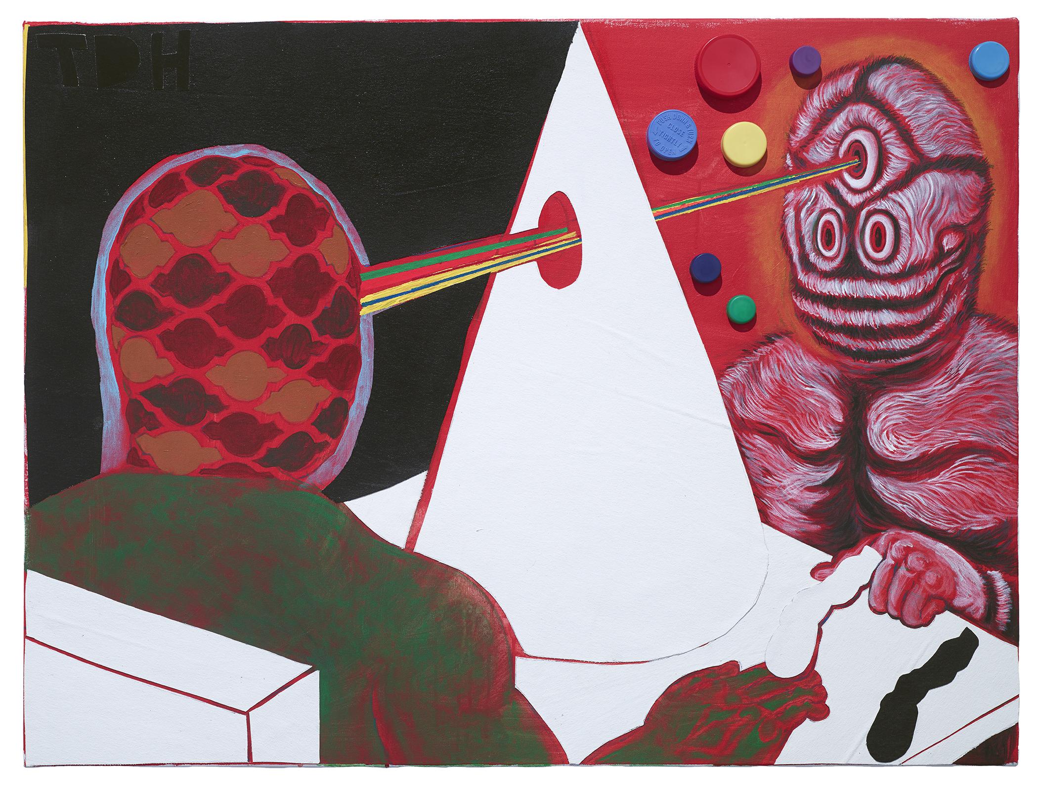 Trenton Doyle Hancock, Knowledge From Samantha, 2015, acrylic and mixed media on canvas, 30 x 42 inches