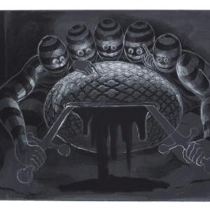Trenton Doyle Hancock, Letting, 2015, acrylic on canvas, 9 x 12 inches