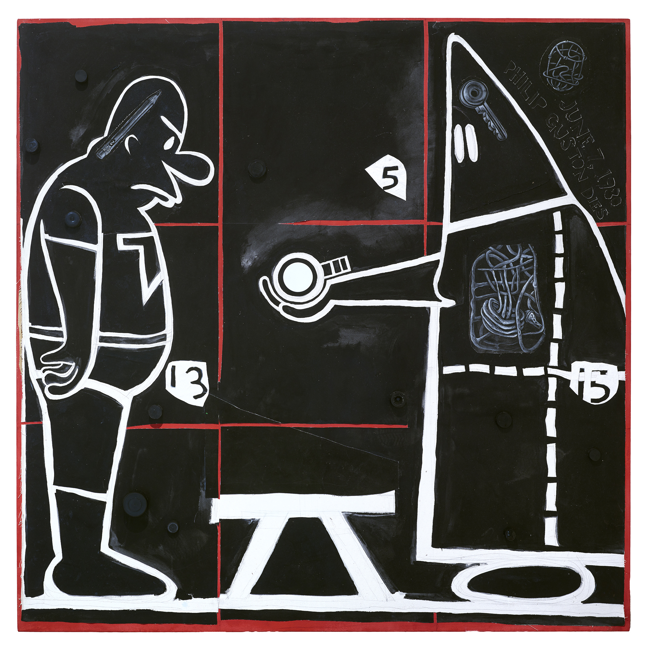 Trenton Doyle Hancock, Step and Screw #18-1, the Handoff, 2015, mixed media on canvas, 60 x 60 inches