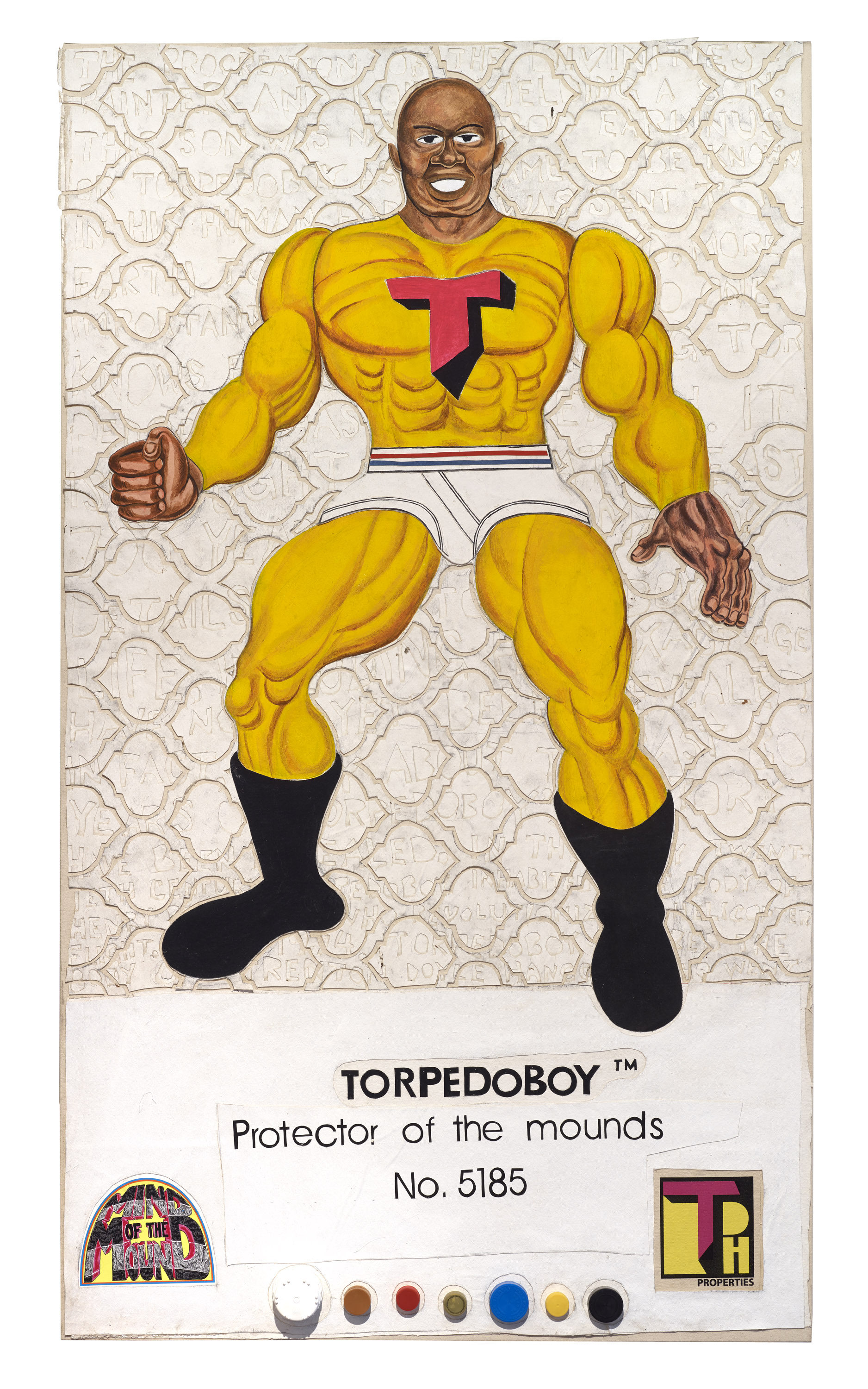 Trenton Doyle Hancock, 8 Back Icon Series: Torpedoboy- Protector of the Mounds, No. 5185, 2016, mixed media on canvas, 66 x 38 inches