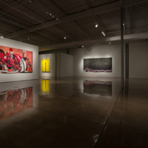 Summer Wheat, Installation View: Sun, Moon and Stars, (Tapestry Room), Pry the Lid Off, 2015, acrylic and resin on aluminum mesh, 4 tapestries, 144 x 72 inches, Oklahoma Contemporary Museum