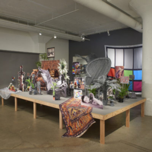 Stephanie Syjuco, Neutral Calibration Studies (Ornament+ Crime), 2016, lasercut wood, archival Epson prints, digital fabric prints, live and artificial plants, mixed media, dimensions variable