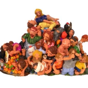 Benji Whalen, Will Love Rise Up Out of This, Too?, 2011, polymer clay on aluminum, 14 x 14 x 19 inches
