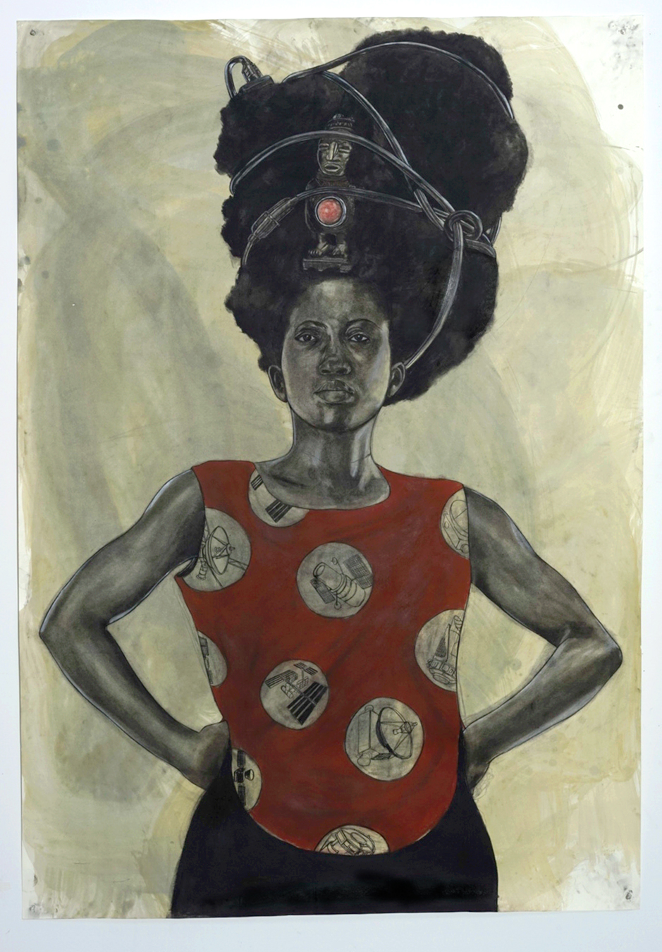 Robert Pruitt, Woman with Halo, 2015, coffee charcoal and mixed media on paper, 60 x 42 inches