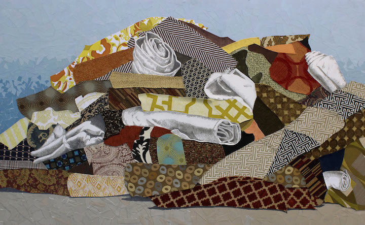 Amy Wilson Faville, Carpet Mountain, 2012, upholstery samples, vintage wallpaper, fabric, blank hospital forms, watercolor paper, graphite on wood, 30 x 48 inches