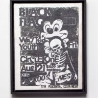 Guy Overfelt, Untitled Trompe L'oeil Punk Flyer, Made in China (Wasted Mickey Skull ), 2012, Oil on linen, 8.125 x 11.375 inches