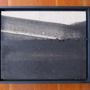 Guy Overfelt, untitled 01 (crespi parking lot series), 1996-2012, 1977 Trans AM burnout using Mickey, Thompson ET street tires on belgian linen, 10 x 8 inches; 25 x 20 cm