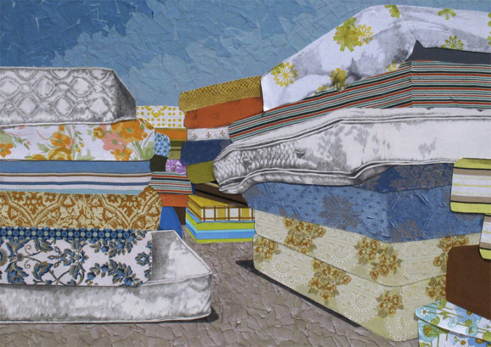 Amy Wilson Faville, Mattress Canyon, 2012, mattress ticking, vintage wallpaper, blank hospital forms, watercolor paper & graphite on wood, 36 x 50 inches
