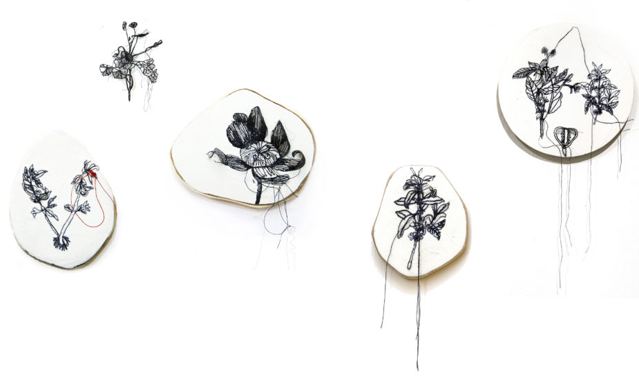 Sumakshi Singh, Fossils, 2016, embroidery on wood and plaster, between 3 to 5 inches each. Image courtesy of sumakshi.com