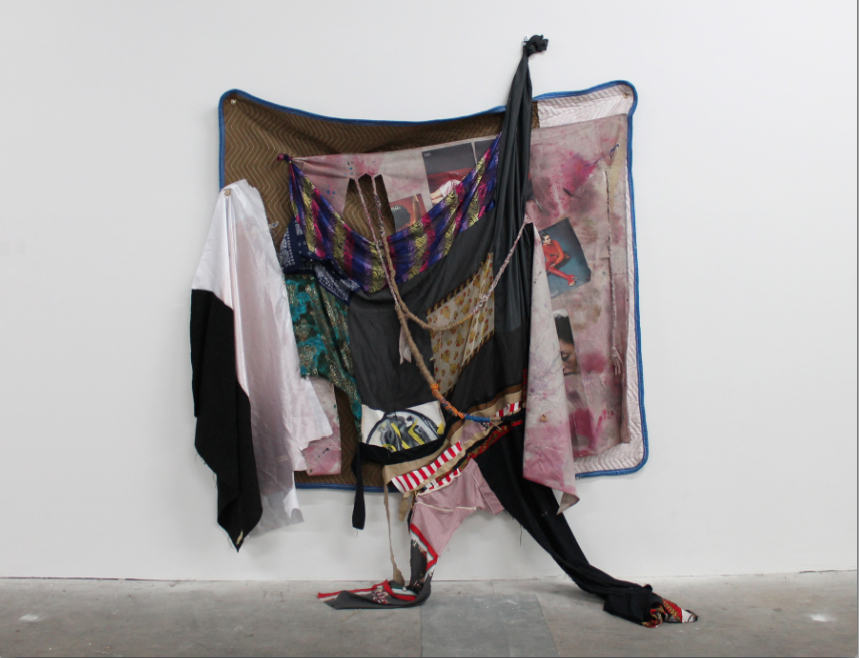 Eric Mack, Hard to Find Like...Pretty White Dreads, 2013, fabric collage, fashion editorial images, cotton tarp, hemp, thread on moving blanket with metal hardware, 80 x 87 x 24 inches