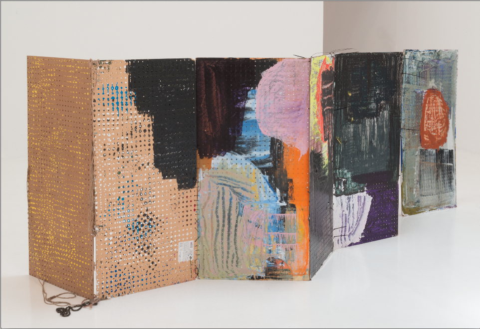Eric Mack, Partition, 2014, acrylic, oil on pegboard, zip ties, rope and twine, 310 x 48 x 16 inches