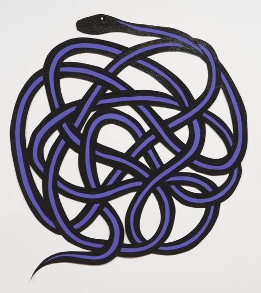 John Parot, Snake, 2012, acrylic and enamel on asphalt felt, 38 x 36 inches. Image courtesy of cargocollective.com