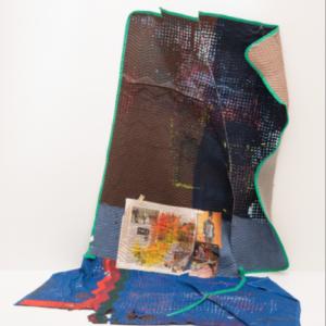 Erick Mack, Finding Comfort in Easy Distinction, 2014, acrylic on cotton and polyester moving blankets, thread, newspaper, magazine pages, 80 x 60 x 65 inches
