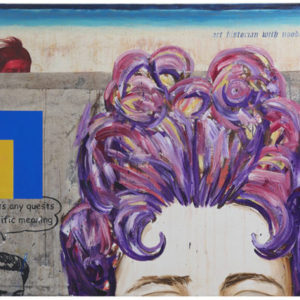 Enrique Chagoya, Art Historian with Noodles Soup, 2013-2016, acrylic and water based oil on amate paper mounted on stretched canvas, 60 x 80 inches