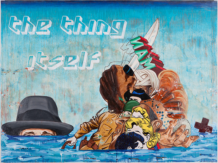 Enrique Chagoya, The Thing Itself (with Joseph Beuys), 2013, acrylic and water based oil on amate paper mounted on stretched canvas, 60 x 80 inches