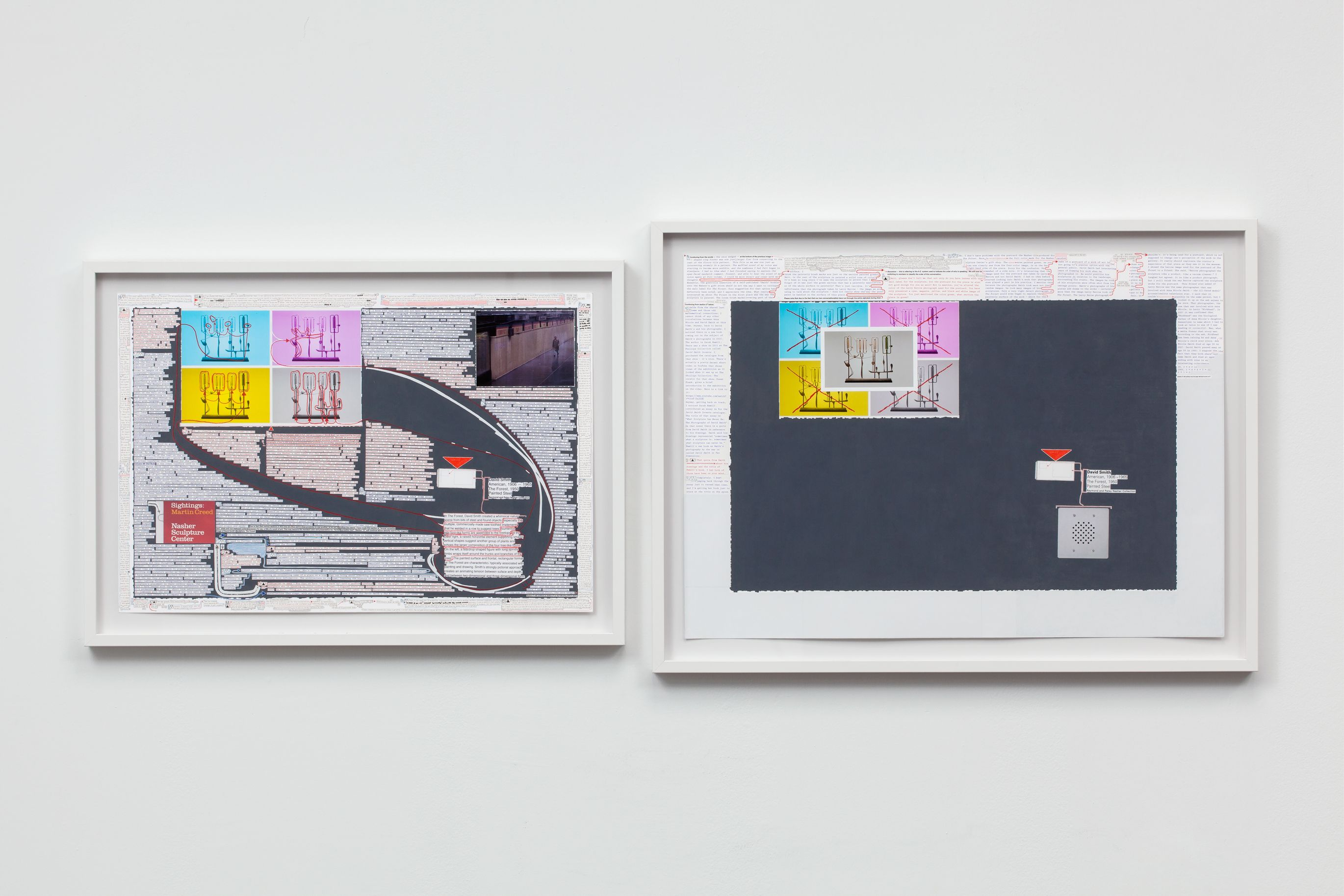 Matthew Sontheimer, Driving Sideways, 2015, diptych with mixed media on paper, Left panel: 19 7/8 x 29 ½ inches, Right panel: 24 x 33 ½ inches