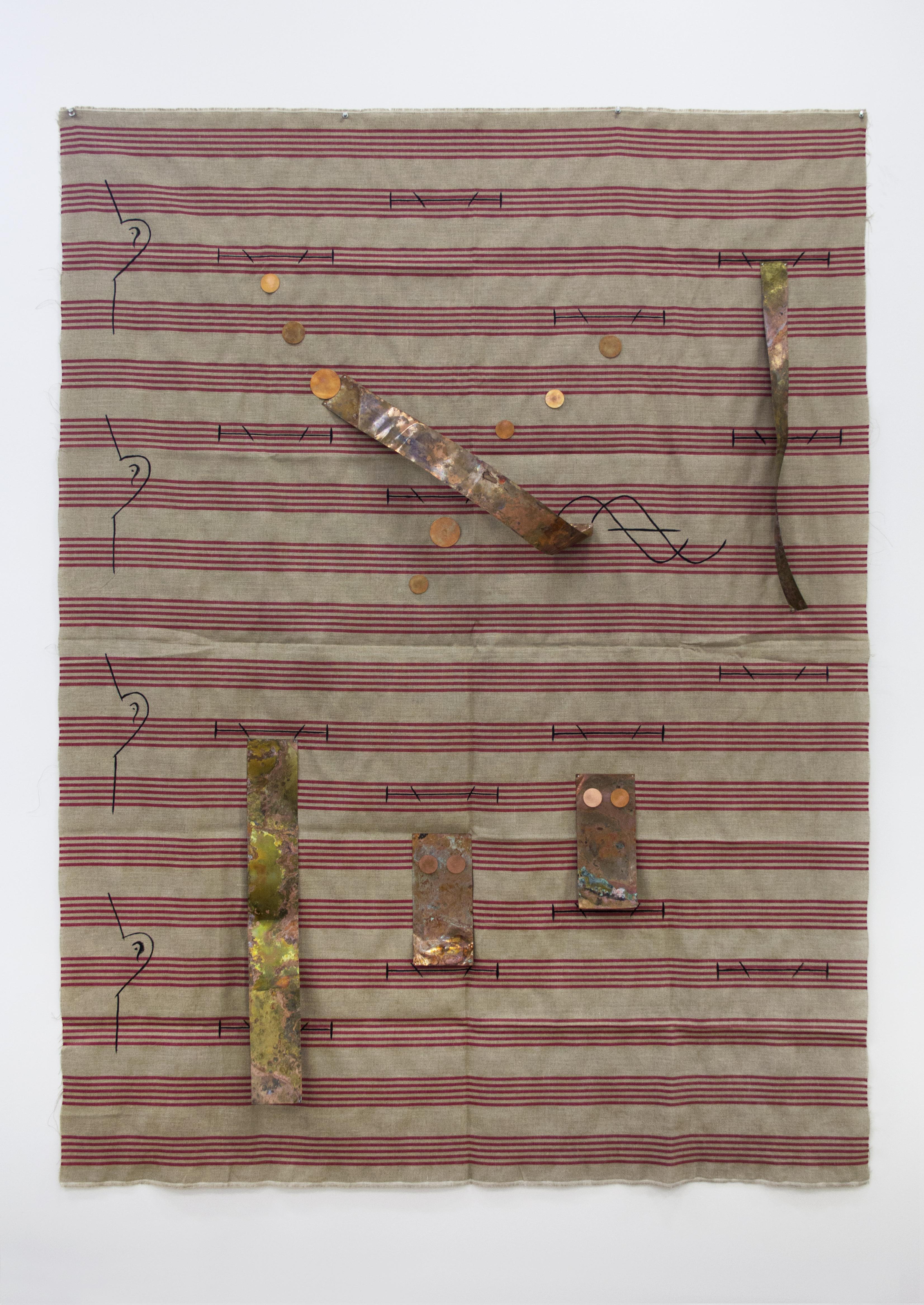 Sergei Tcherepnin, Ear Blocks, 2015, gouache on linen, copper, 72 x 54 inches