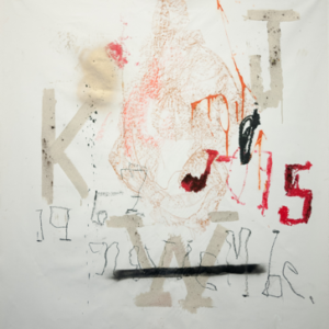 Stephen Lapthisophon, KWJ15, 2014, house paint, spray paint, chalk, ink, charcoal, coffee, oil stick, pigmented bacon fat on canvas, 58 x 54 inches