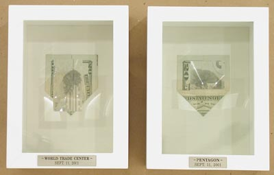Moses Nornberg, The question is not whether God is on our side., 2004, twenty dollar bill, magnifying glass, 7 1/2 by 12 1/2 by 3 1/4 inches. Image courtesy of brunodavidgallery.com