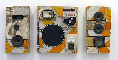 Moses Nornberg, Mobile MC, 2005, mixed media, 24 x 49 x 7 inches. Image courtesy of brunodavidgallery.com