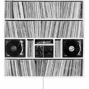 Moses Nornberg, Two Turntables and a Microphone, 2005, wood substracte, record players, microphone and 1500 record sleeves, 84 x 60 inches. Image courtesy of brunodavidgallery.com