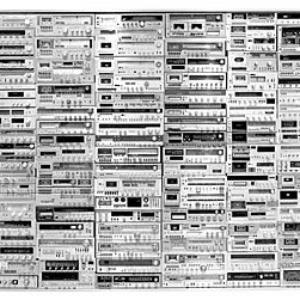 Moses Nornberg, Soundboard, 2005, 180 old stereos, steel and aluminum frame, 108 x 149 inches. Image courtesy of brunodavidgallery.com