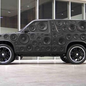 Moses Nornberg, American Dream: We Like the Cars that Go BOOM!, 2005, '91 Chevy Blazer, speakers and black paint, 72 x 204 inches. Image courtesy of brunodavidgallery.com