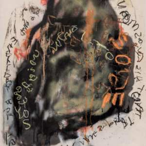 Stephen Lapthisophon, Word Hole, 2015, spray paint, charcoal, oil pastel, coffee and ink on paper, 40 x 26 inches