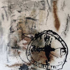 Stephen Lapthisophon, Pensativo, 2015, latex, charcoal, olive oil, spray paint, turmeric, cinnamon, paprika, dill, oil stick and India ink on canvas, 60 x 48 inches