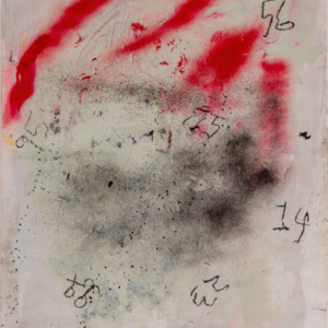 Stephen Lapthisophon, Evidence, 2016, house paint, spray paint, charcoal, ink, coffee and hair on paper, 38 x 25 inches
