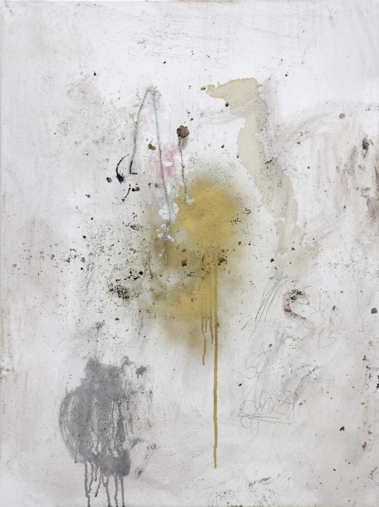 Stephen Lapthisophon, Clear Spot, 2015, ink, spray paint, string and coffee on canvas, 40 x 30 inches