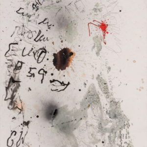 Stephen Lapthisophon, Mumble, 2016, beet juice, house paint, spray paint, ink, coffee and charcoal on paper, 40 x 26 inches