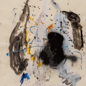Stephen Lapthisophon, Wire and String, 2016, house paint, spray paint, oil pastel, ink and coffee on paper, 30 x 22 inches