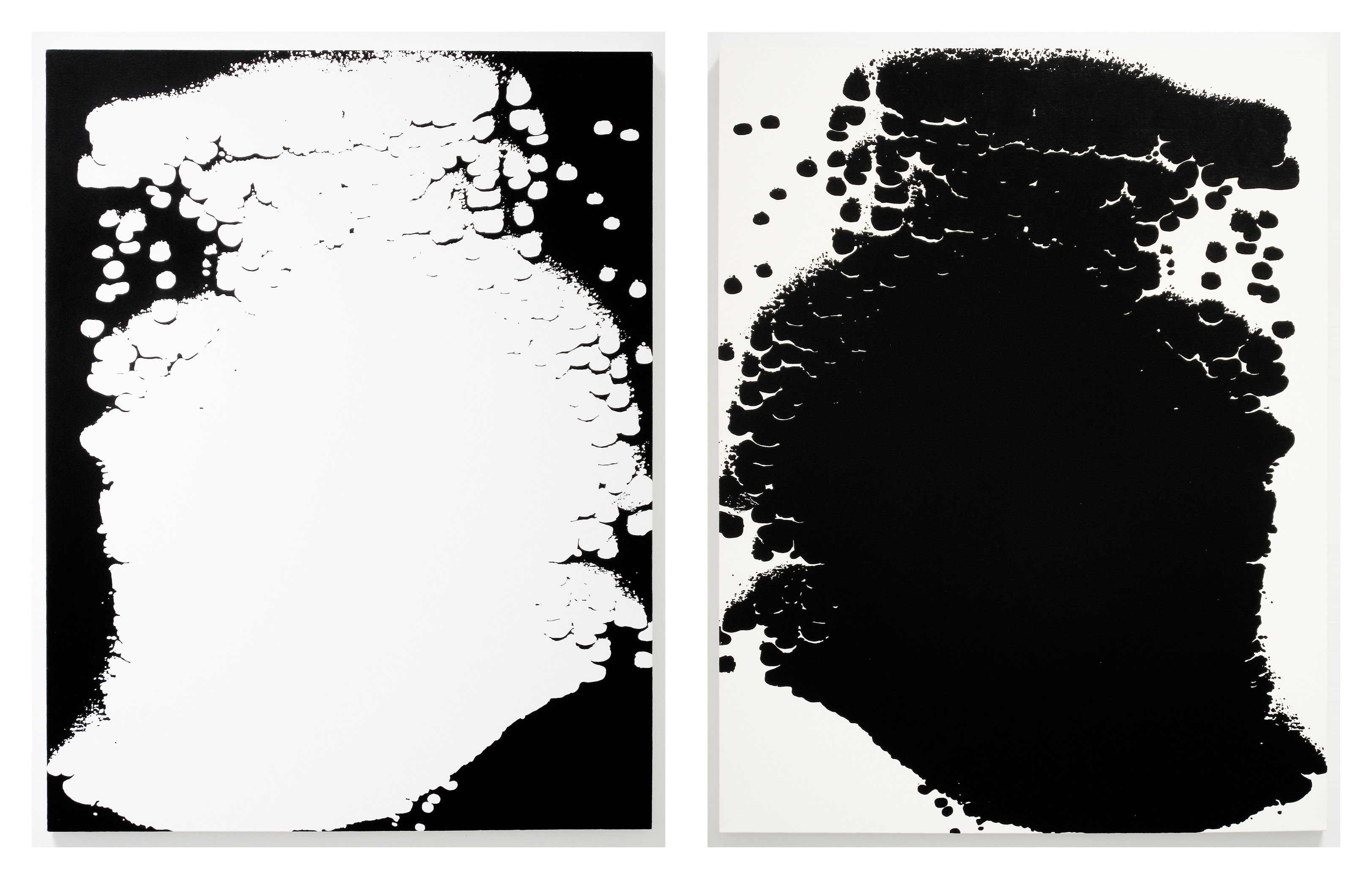 Scott Short, Untitled (blue negative reversed) and Untitled (blue), 2011, oil on canvas, each 52 x 40 1/4 inches